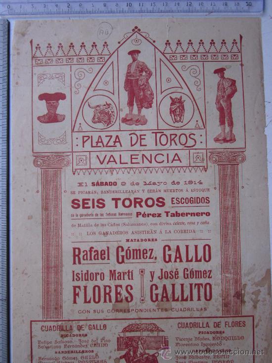 Carteles Toros: CARTEL TOROS VALENCIA - 9 DE MAYO DE 1914 - IMP. LIT. ORTEGA - Foto 5 - 29935103