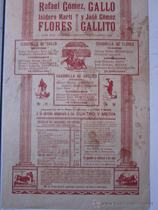 Carteles Toros: CARTEL TOROS VALENCIA - 9 DE MAYO DE 1914 - IMP. LIT. ORTEGA - Foto 6 - 29935103