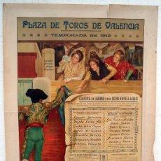 Carteles Toros: CARTEL TOROS PLAZA TOROS VALENCIA , 1913 , ORIGINAL 65 X 90 CMS. LITOGRAFIA RUANO LLOPIS. Lote 29964956