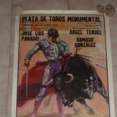 Carteles Toros: CARTEL DE TAUROMAQUIA ORIGINAL. PLAZA DE TOROS MONUMENTAL DE BARCELONA, 1970.. Lote 30090706