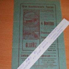 Carteles Toros: PLAZA DE TOROS DE ALCAÑIZ 11 DE SEPTIEMBRE DE 1927 (TERUEL). Lote 30372653