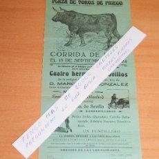 Carteles Toros: PLAZA DE TOROS DE PRIEGO 15 DE SEPTIEMBRE 1924 (CUENCA). Lote 30373162