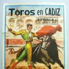 Affiches Tauromachie: CARTEL TOROS PLAZA CÁDIZ NOVILLADA RAFAEL PERALTA EMILIO OLIVA SANLUQUEÑO LEÓN ESPINOZA AGOSTO 1959. Lote 30616064