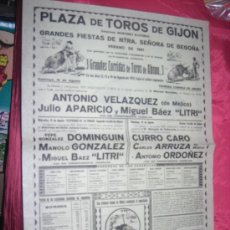Carteles Toros: CARTEL DE TOROS FERIA DE BEGOÑA LITRI DOMINGUIN ARRUZA ORDOÑEZ 32 X 44 CM.AÑO 1951.. Lote 30838206