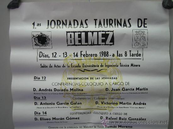 Carteles Toros: Nº 42 Cartel Plaza de toros de Belmez . Medidas 32 x 70 cm - Foto 2 - 30849081