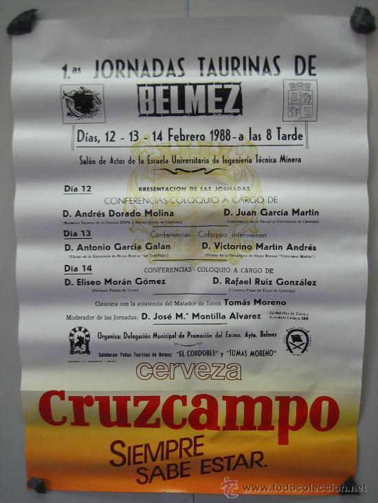 Nº 42 CARTEL PLAZA DE TOROS DE BELMEZ . MEDIDAS 32 X 70 CM (Coleccionismo - Carteles Gran Formato - Carteles Toros)