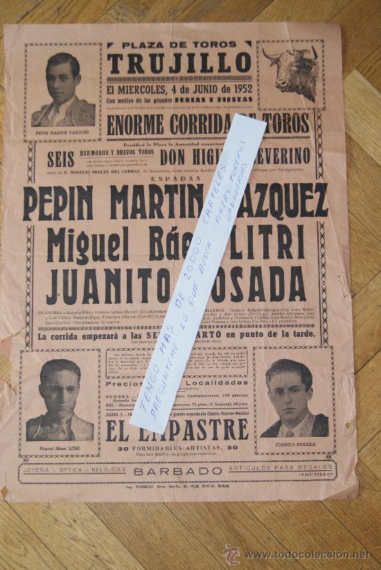 PLAZA DE TOROS DE TRUJILLO 1952 (Coleccionismo - Carteles Gran Formato - Carteles Toros)