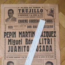 Carteles Toros: PLAZA DE TOROS DE TRUJILLO 1952. Lote 30966497