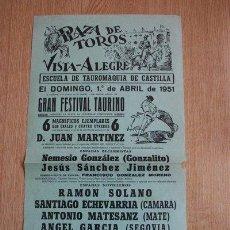 Carteles Toros: CARTEL DE TOROS DE VISTA-ALEGRE. MADRID. DOMINGO, 1º DE ABRIL DE 1951. . Lote 31206928