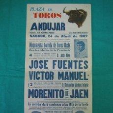 Carteles Toros: CNº4 PLAZA DE TOROS DE ANDUJAR 20´5X44 CM. AÑO 1982. Lote 31640559