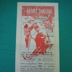 Carteles Toros: CNº35 PLAZA DE TOROS DE ANTEQUERA 21X44 CM. AÑO 1983. Lote 31303135