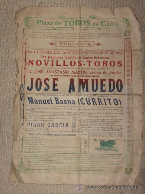 PLAZA DE TOROS DE CÁDIZ 11/10/1914, ÚNICO ESPADA EL DIESTRO GADITANO JOSÉ AMUEDO, RETRATO AL DORSO (Coleccionismo - Carteles Gran Formato - Carteles Toros)