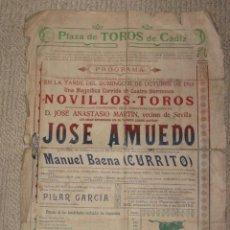 Carteles Toros: PLAZA DE TOROS DE CÁDIZ 11/10/1914, ÚNICO ESPADA EL DIESTRO GADITANO JOSÉ AMUEDO, RETRATO AL DORSO. Lote 31305970