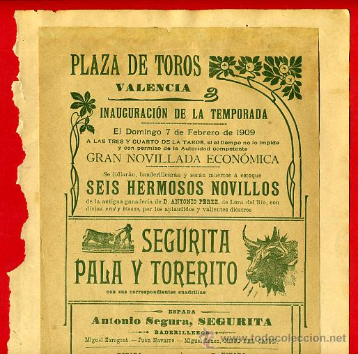 CARTEL TOROS, PLAZA VALENCIA 1909 , ORIGINAL , K6 (Coleccionismo - Carteles Gran Formato - Carteles Toros)