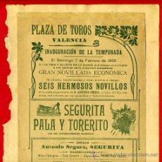 Carteles Toros: CARTEL TOROS, PLAZA VALENCIA 1909 , ORIGINAL , K6. Lote 31457256