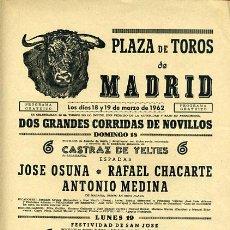 Carteles Toros: CARTEL TOROS, PLAZA DE MADRID 1962 , ORIGINAL , K21. Lote 31457581