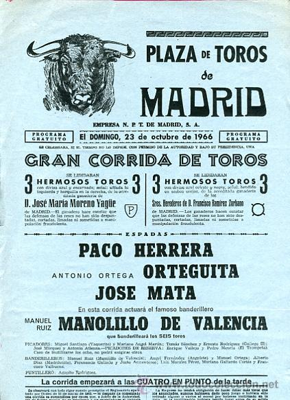 CARTEL TOROS, PLAZA DE MADRID 1966 , ORIGINAL , K22 (Coleccionismo - Carteles Gran Formato - Carteles Toros)