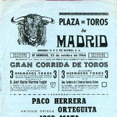 Carteles Toros: CARTEL TOROS, PLAZA DE MADRID 1966 , ORIGINAL , K22. Lote 31457595