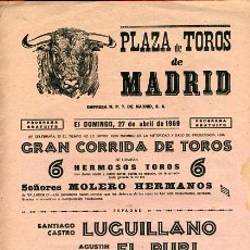 Carteles Toros: CARTEL TOROS, PLAZA DE MADRID 1969 , ORIGINAL , K23. Lote 31457601