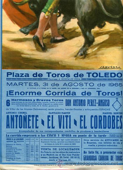 CARTEL TOROS, PLAZA DE TOLEDO 1965 , ORIGINAL , K26 (Coleccionismo - Carteles Gran Formato - Carteles Toros)