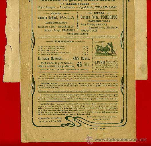 Carteles Toros: CARTEL TOROS, PLAZA VALENCIA 1909 , ORIGINAL , K6 - Foto 2 - 31457256