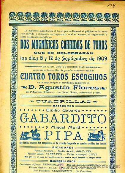 Carteles Toros: CARTEL TOROS, IBI ALICANTE 1909 , ORIGINAL, VER FOTOS ADICIONALES, Y104 - Foto 3 - 32045482