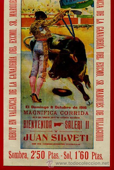 Carteles Toros: CARTEL TOROS, VALENCIA 1916 , ORIGINAL, VER FOTOS ADICIONALES, Y117 - Foto 2 - 32045890