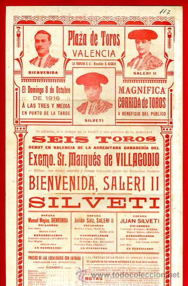 Carteles Toros: CARTEL TOROS, VALENCIA 1916 , ORIGINAL, VER FOTOS ADICIONALES, Y117 - Foto 3 - 32045890