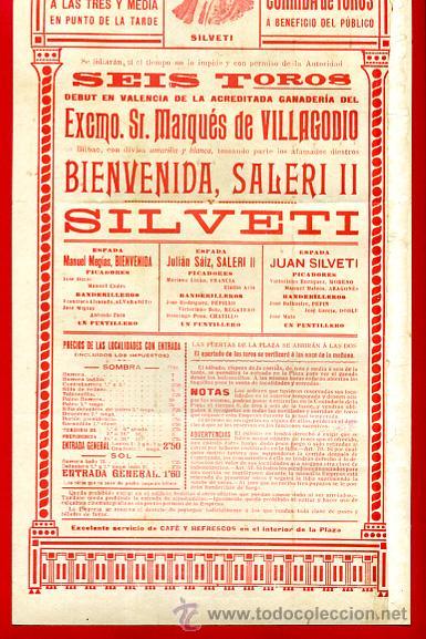 Carteles Toros: CARTEL TOROS, VALENCIA 1916 , ORIGINAL, VER FOTOS ADICIONALES, Y117 - Foto 4 - 32045890