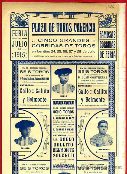 Carteles Toros: CARTEL TOROS, VALENCIA 1915 , ORIGINAL, VER FOTOS ADICIONALES, Y120 - Foto 3 - 32045942
