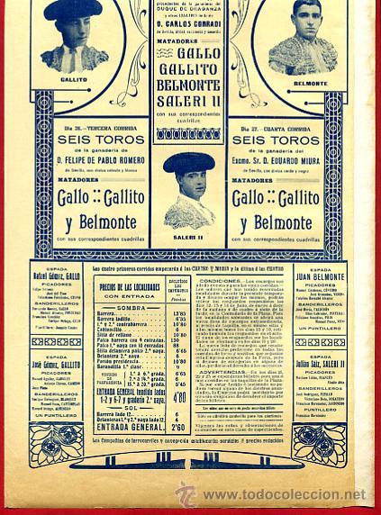 Carteles Toros: CARTEL TOROS, VALENCIA 1915 , ORIGINAL, VER FOTOS ADICIONALES, Y120 - Foto 4 - 32045942