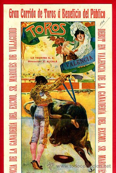 CARTEL TOROS, VALENCIA 1916 , ORIGINAL, VER FOTOS ADICIONALES, Y117 (Coleccionismo - Carteles Gran Formato - Carteles Toros)