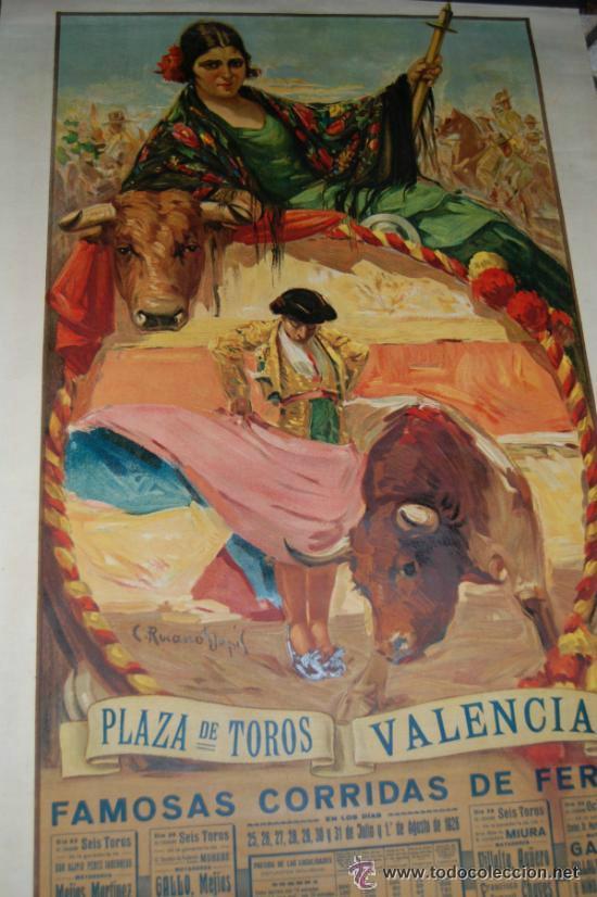 CARTEL TOROS DE VALENCIA AÑO 1926 ORIGINAL ILUSTRADO POR RUANO LLOPIS (Coleccionismo - Carteles Gran Formato - Carteles Toros)