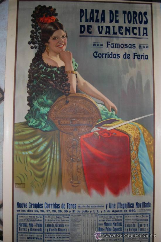CARTEL TOROS DE VALENCIA AÑO 1930 ORIGINAL ILUSTRADO POR LAZARO (Coleccionismo - Carteles Gran Formato - Carteles Toros)