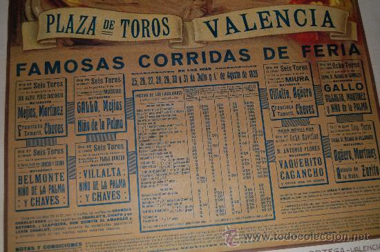 Carteles Toros: CARTEL TOROS DE VALENCIA AÑO 1926 ORIGINAL ILUSTRADO POR RUANO LLOPIS - Foto 2 - 32209060