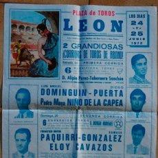 Carteles Toros: CARTEL DE TOROS - PLAZA DE LEÓN - 1972. Lote 32948870