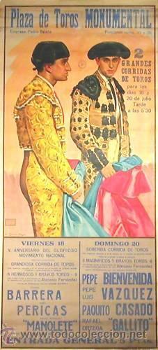 CARTEL BIENVENIDA - VAZQUEZ - MANOLETE.1941.GARCIA MOYA. 77 X 163CM. (Coleccionismo - Carteles Gran Formato - Carteles Toros)