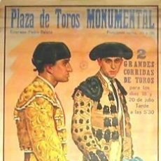 Carteles Toros: CARTEL BIENVENIDA - VAZQUEZ - MANOLETE.1941.GARCIA MOYA. 77 X 163CM.. Lote 33027224