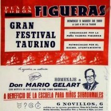 Carteles Toros: CARTEL FIGUERAS.PLAZA TOROS .1969. 24X46 CM.. Lote 56599954