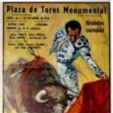 Carteles Toros: CARTEL PLAZA DE TOROS MONUMENTAL.1970.BALLESTAR.22X45CM. Lote 33032996