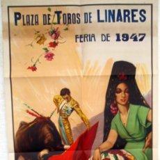 Carteles Toros: CARTEL TOROS , LINARES 1947 , MUERTE DE MANOLETE , LITOGRAFIA , ORIGINAL. Lote 33107803