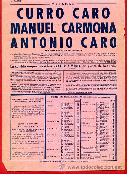 Carteles Toros: CARTEL TOROS, PLAZA MADRID , CORRIDA , 1951 , ORIGINAL , P16 - Foto 2 - 33224147