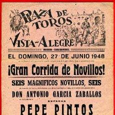 Carteles Toros: CARTEL TOROS, PLAZA DE MADRID, 1948, ORIGINAL , P1. Lote 33223682