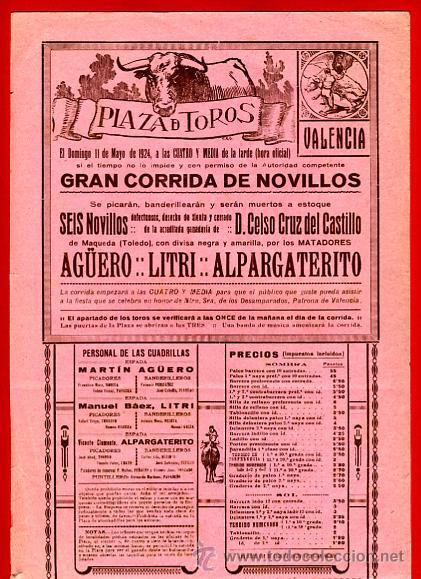 CARTEL TOROS, PLAZA DE VALENCIA CORRIDA NOVILLOS , 1924 , ORIGINAL , P3 (Coleccionismo - Carteles Gran Formato - Carteles Toros)