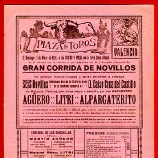 Carteles Toros: CARTEL TOROS, PLAZA DE VALENCIA CORRIDA NOVILLOS , 1924 , ORIGINAL , P3. Lote 33223755
