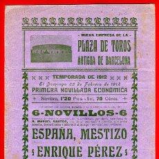 Carteles Toros: CARTEL TOROS, PLAZA ANTIGUA BARCELONA , NOVILLADA , 1912 , ORIGINAL , P5. Lote 33223837