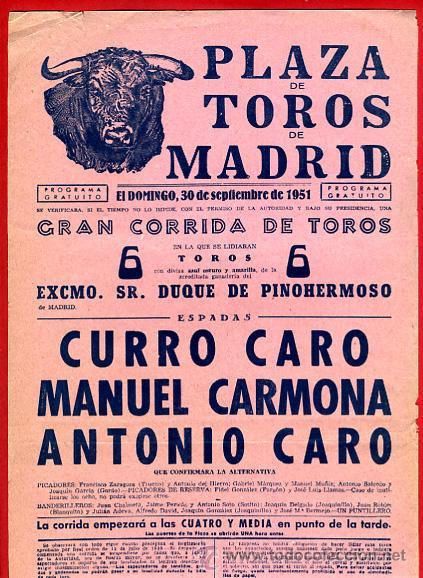 CARTEL TOROS, PLAZA MADRID , CORRIDA , 1951 , ORIGINAL , P16 (Coleccionismo - Carteles Gran Formato - Carteles Toros)