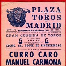 Carteles Toros: CARTEL TOROS, PLAZA MADRID , CORRIDA , 1951 , ORIGINAL , P16. Lote 33224147