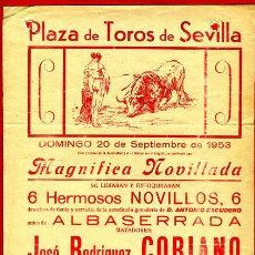 Carteles Toros: CARTEL TOROS, PLAZA SEVILLA , NOVILLADA , 1953 , ORIGINAL , P18. Lote 33224180