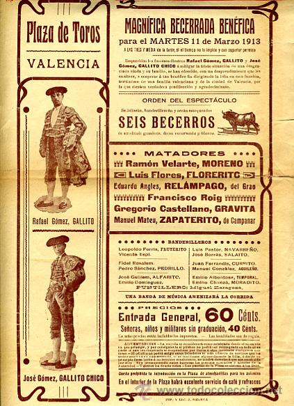 CARTEL TOROS, PLAZA VALENCIA, GALLITO , 1913 , ORIGINAL , P29 (Coleccionismo - Carteles Gran Formato - Carteles Toros)